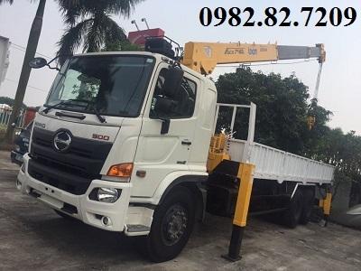 Giá xe tải hino 3 chân 2 cầu thật 15 tấn gắn cẩu 8 tấn FM8JW7A