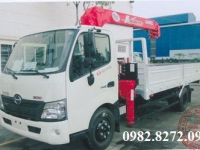 Giá xe tải hino 3,5 tấn XZU730 gắn cẩu unic 3 tấn